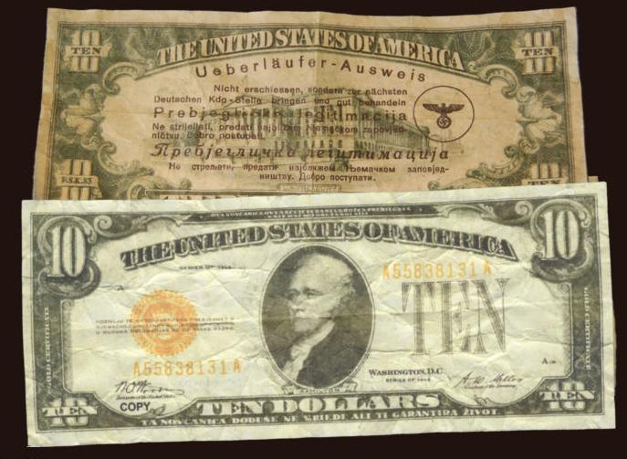 Fake ten dollar bill german propaganda currency of ww ii