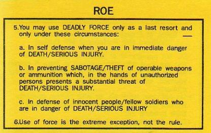 Army Rules of Engagement Rules of Engagement