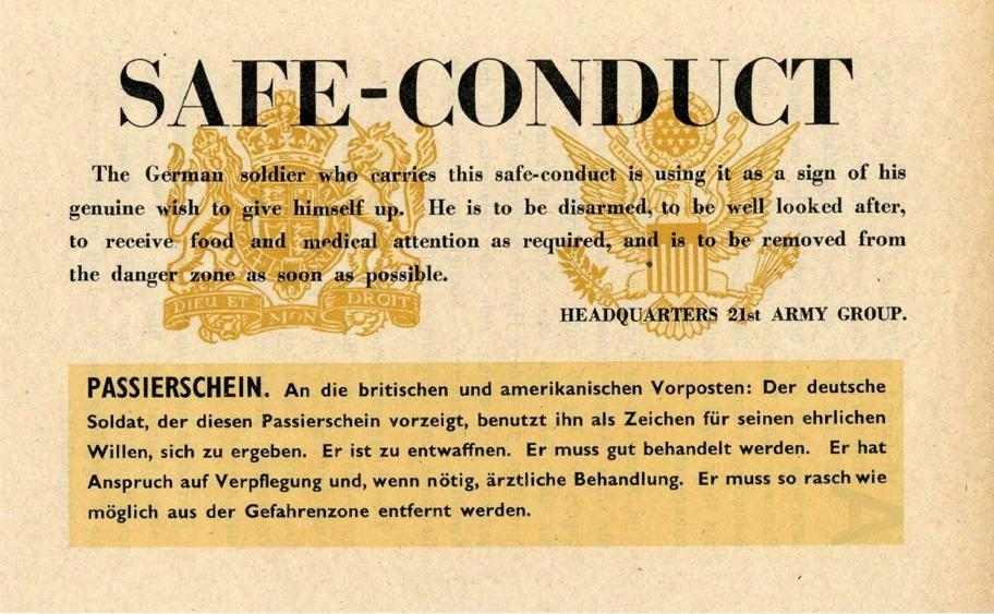 Standard Allied Safe Conduct Passes of WWII